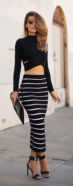 black cut out crop top & ankle length striped bodycon skirt