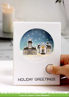 I'm so excited to be part of the Lawn Fawn Fawny Holiday Inspiration Week. I have a card made with one of their supe. Die Cut Christmas Cards, Chrismas Cards, Xmas Cards, Holiday Cards, Scrapbook Paper Crafts, Scrapbook Cards, Scrapbooking, Lawn Fawn Blog, Lawn Fawn Stamps