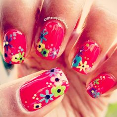 Poppy Red Flowers #nailart