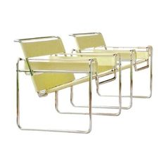 Knoll Wassily Chairs in Yellow Leather - A Pair