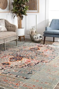 Rugs USA Gray Chroma Faded Gothic Medallion rug - Traditional Rectangle x Cheap Living Room Rugs, Living Room Carpet, Dining Room Chair Cushions, Living Room Chairs, Vintage Chairs, Vintage Rugs, Cheap Rugs, Buy Rugs, Rugs Usa