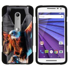 Motorola Droid Maxx 2 SHOCK FUSION Heavy Duty Kickstand Case - Blazing Eagle