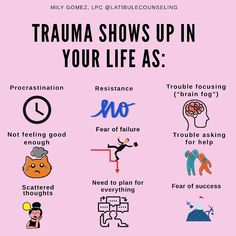 This is exactly what I worked on in therapy yesterday! This is real. my trauma was sickness and death of a parent so when sickness… Mental And Emotional Health, Mental Health Awareness, Trauma Therapy, Occupational Therapy, Ptsd, Self Improvement, Self Help, Encouragement, Life Quotes