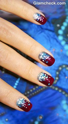 Holiday nails with a manicure with claret varnish and sparkles on the decorative background. Holiday nails with a manicure with claret varnish and sparkles on the decorative background. Holiday Nail Art, Winter Nail Art, Winter Nail Designs, Christmas Nail Designs, Christmas Nail Art, Winter Nails, Nail Art Designs, Christmas Manicure, Christmas Patterns