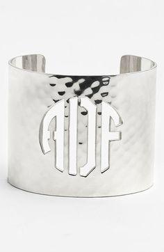 Women's Rustic Cuff Wide Personalized Monogram Cuff - Silver