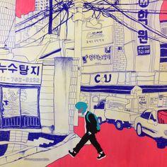 BAZ_BON @baz_bon / 만화와 골목길의 만남 '서울특별시 이야기로(路)-골목길' 전시에 참여하게 됐습니다. 빠듯한 시간에 그래도 재미있게 작업했으니 명동에 오시게 되면 들러보세요~ 1월9일~3월1일까지 명동 재미랑에서 합니다! / 서울 / #골목 #그림 #거리 #글자들 #간판 #설비 / 2015 01 29 /