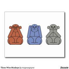 Three Wise Monkeys Postcard