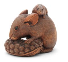A WOOD NETSUKE OF RATS AND MILLET By Ikko, late 19th century Sold for £ 3,125 (US$ 4,390) inc. premium FINE JAPANESE ART 12 Nov 2015