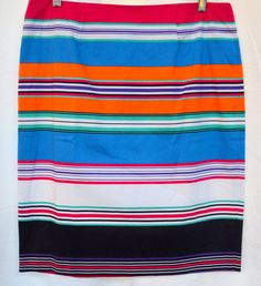 Premise Striped Orange Combo Stretch Pencil Skirt  Almalfi Coast Sz 10  New #Premise #StraightPencil