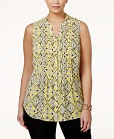 Charter Club Plus Size Printed Pintucked Blouse, Only at Macy's