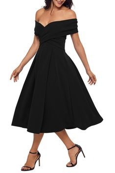 Black Crossed Bardot Fit-and-flare Prom Dress