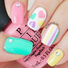 Cute Pastel stiped heart nail design,cute nail art - www.nailsinspiration.com