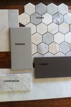 Collamore Built Tile Options for Master Bath: Carrara Marble 2 Hex for floors with Grey Ceramic Subways for shower and backsplash and White Carrara . Hexagon Tile Bathroom Floor, Bathroom Flooring, Marble Countertops Bathroom, Carrara Marble Bathroom, Backsplash Marble, Hexagon Backsplash, Hex Tile, Concrete Bathroom, Shower Tiles
