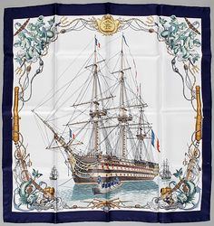 "A silk scarf ""L'Ocean Vaisseu de 118 Canons by Hermès. Canon, Modern Art, Contemporary Art, Spanish Galleon, 2d Art, Wine And Spirits, Winter Sale, Hermes Scarves, Gold"