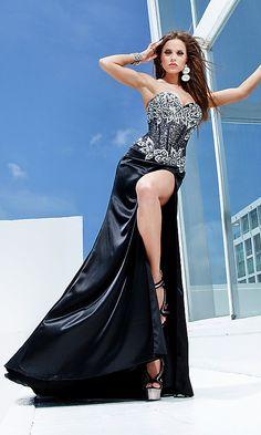 Black Strapless Formal Dress by Tony Bowls