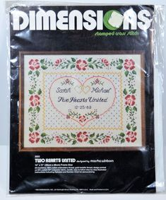 SOLD! Two Hearts United Dimensions Stamped Cross Stitch Kit 3033 Wedding Record New #Dimensions #Frame