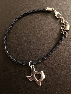 Braided Leather Cord Texas Heart Charm By Chainlovejewelry On Etsy