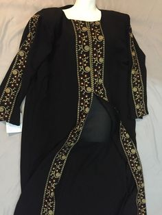 Black Embroidered Jilbab/ Julbab Abaya Arabic Style Arab Dress