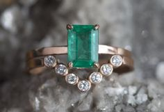 emerald engagement ring + diamond wedding band ::  Alexis Russell