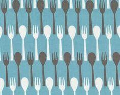 """Patchworkstoff """"Table Dance"""" mit Gabel und Löffel, hellblau"""