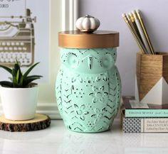 Mint Green Cookie Jar, Owl Candy Jar, Utensil Holder, Coffee Jar, Tea Jar, Owl Vase, Kitchen Decor, Desk Decor, Housewarming Gift by ShabbyChicRetreat on Etsy