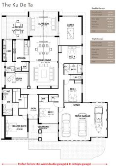 Floor Plan Friday: Open living with triple garage. I would eliminate the bath move laundry there and use the room behind kitchen as butlers pantry, second sink & dishwasher, freezer. Open up bdrm 2 for living room area. Floor Plan 4 Bedroom, 4 Bedroom House Plans, Dream House Plans, The Plan, How To Plan, Garage Floor Plans, House Floor Plans, Dream House Drawing, House Plans Australia