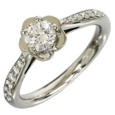 Chanel 950 Platinum Diamond Camellia Dialing Ring US Size 4.75 With Box/Cert