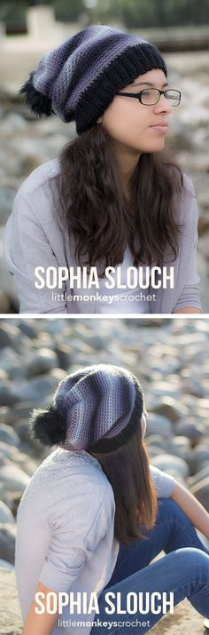 Sophia Slouch Crochet Pattern   Free slouchy hat crochet pattern by Little Monkeys Crochet
