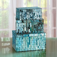 These sparkly Mosaic Boxes belong on the bathroom shelves holding things like hair clips.