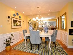 how to use yellow to shape a refreshing dining room | blue design