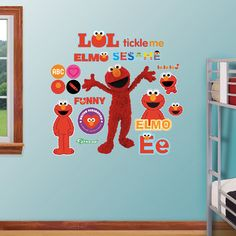 Sesame Street Elmo Wall Decals by Fathead, Multicolor Flower Wall Decals, Nursery Wall Decals, Vinyl Art, Vinyl Decals, Peel And Stick Vinyl, Dream Wall, Disney Cars, Elmo, Wall Design