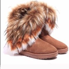 Furry Sexy Boots Stylish Boots with the Furr! Worn Once No Trades Shoes Winter & Rain Boots