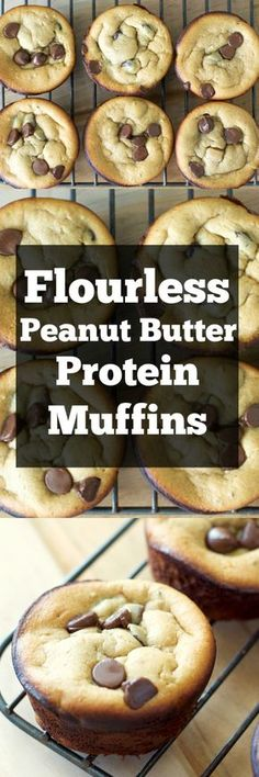 Peanut Butter Banana Protein Muffins! Healthy, easy and completely gluten free!! These muffins are packed with peanut butter, bananas, protein and chocolate!