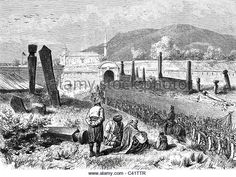 AdaKale, Balkan Crisis 1875 - 1878, occupation of the island of Ada Kaleh by Austria-Hungary, Romania, 31.51878, wood engraving, - Stock Image
