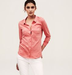 Coral & White Cotton Knit Button Down Shirt | Loft $39.50