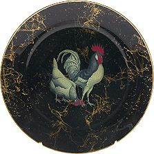 Rooster Decoupage Luncheon Plate