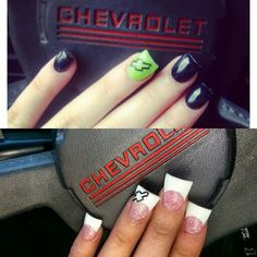 Chevy nails. Nail art. Chevrolet