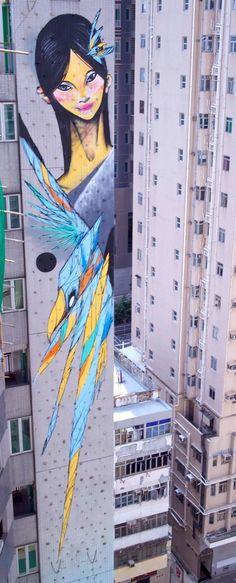 by TwoOne + Shida - 13 storey abseiling mural in Hong Kong - 2013 / https://vimeo.com/75689199 #streetartgalerie #streetart #arturbain #urbanart