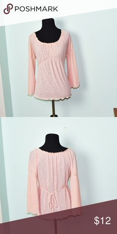 Beautiful Light Pink Flowy Peasant Blouse In excellent condition! Very comfortable, soft, and flattering! Buy 3 items and get 1 free plus 15% off your purchase total! Tops Blouses