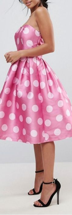 pink polka dot full dress