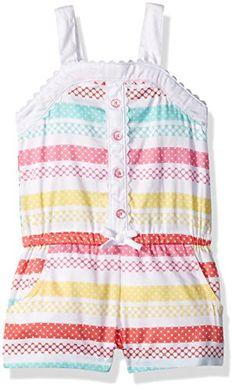 4fc1b57071b0 Little Me Baby Toddler Girls Woven Romper White Print 2T  gt  gt  gt