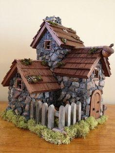 Handmade fairy stone cottage Source Magical Fairy Garden Hammock  Source Mermaid fountain Source Fairy ladde...
