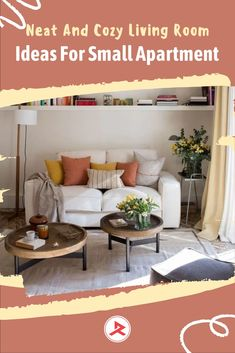 Placing a two-seater sofa in the small apartment living room is a good idea to deal with a limited space. You can install a floating shelf above the sofa to save space and smart storage in your living room. #apartmentdecor #smallapartment #livingroomapartmentdecor #livingroomdecor