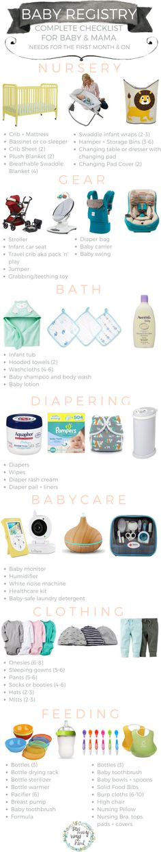 Baby registry checklist for everything mama and baby needs! Includes a budget list that will tell you want you really need for the first couple months and what you can buy later.I\'ll share my favorite must have items and easy links on where to get them. - SewManyWaysKimi