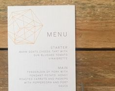 DIAMOND Wedding Menu, personalised, printable, downloadable, by AnnaVictoriaDesigns