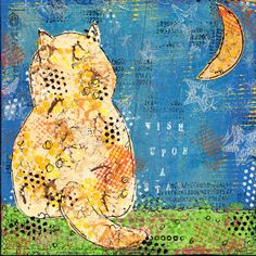 Wish upon a star  8 x 8 mixed media canvas