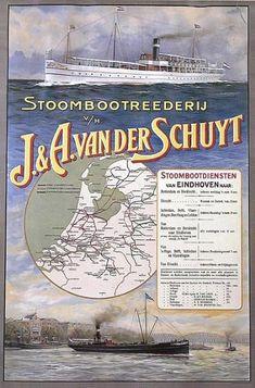 Stoombootrederij v/h J&A van der Schuyt Vintage Advertising Posters, Vintage Travel Posters, Vintage Advertisements, Tourism Poster, Poster Ads, Vintage Boats, Retro Ads, Old Signs, Eindhoven