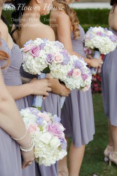 Spring Wedding + Bridesmaids Bouquets + Lavender Wedding