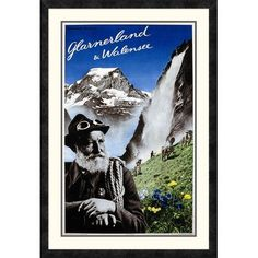 """Global Gallery 'Glarnerland and Walensee' by Herbert Matter Framed Vintage Advertisement Size: 36"""" H x 24.64"""" W x 1.5"""" D"""