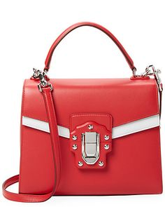 Fabulous D G Satchel in a very eye-catching colour-blocking of Red and White 6dc6cc1dc161d